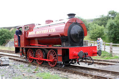 Historic Red Steam Train Engine. This histroric coal steam engine train can be found in the Brecon Beacons Stock Photo
