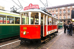 The historic red tram in Turin Royalty Free Stock Image