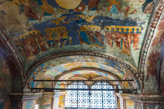 Historic religious fresco paintings on ceiling of the Church Elijah the Prophet Stock Image