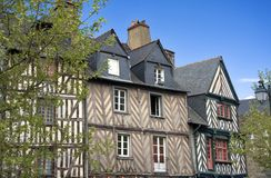 Historic Rennes. The half-timbered buildings of Rennes, Brittany, France Royalty Free Stock Images