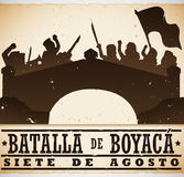Historic Representation of Colombian Boyaca`s Battle National Holiday, Vector Illustration. Poster with silhouettes representing the historic events in the Stock Images
