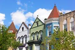 Historic residential architecture of Washington DC. Royalty Free Stock Photo