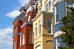 Historic residential architecture of Washington DC. Royalty Free Stock Photos