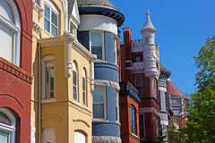 Historic residential architecture of Washington DC. Royalty Free Stock Photo