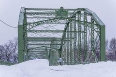 Historic and Restored Bridge After Major Snowstorm - Binghamton, New York Royalty Free Stock Image