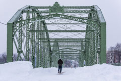 Historic and Restored Bridge After Major Snowstorm - Binghamton, New York Royalty Free Stock Photos