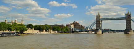 Historic River Thames view. Historic landmarks along the River Thames Royalty Free Stock Photo