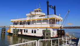 Historic Riverboat, Cherry Blossom,set on the potomac River,Old Alexandria,Virginia,April 2015 Stock Photo