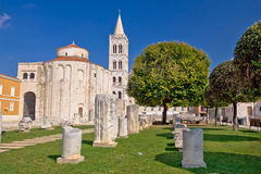 Historic roman artefacts on Zadar square Royalty Free Stock Photo