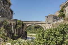 Historic roman bridge in vaison la romaine royalty free stock photography