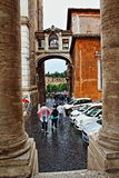 Historic Rome rainy day street Italy. Tourists sightseeing in the rain on Capitoline hill street  leading to the Roman Forum, Rome city,Italy Stock Photography