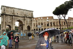 Historic Rome rainy day tourists Italy Royalty Free Stock Images