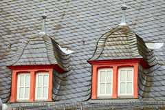 Historic roof. Old historic roof  in small city Saarburg, Rheinland-Pfalz, Germany, evening, summer Stock Image