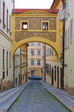 Historic roofed bridge in Prague, Czech Republic. In Europe Royalty Free Stock Image