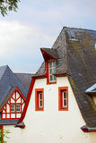 Historic roofs. Old historic roof  in small city Saarburg, Rheinland-Pfalz, Germany, evening, summer Royalty Free Stock Image