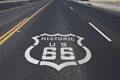 Historic Route 66. Route 66 pavement sign on a four section of the historic highway Stock Photo