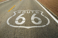 Historic Route 66. Painted marker on a California portion of the historic Route 66 royalty free stock images
