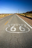 Historic Route 66. Painted marker on a California portion of the historic Route 66 royalty free stock photos