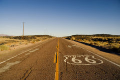 Historic Route 66. Painted marker on a California portion of the historic Route 66 Stock Photos