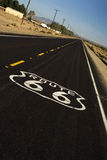 Historic Route 66. Painted marker on a California portion of the historic Route 66 royalty free stock photography