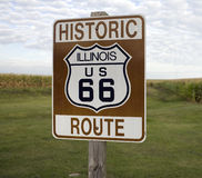 Historic Route 66. A sign marking Historic Route 66 in rural Illinois Stock Photos