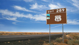 Historic Route 66 road in Arizona. A road sign for historic Route 66 in the desert between Gallup, New Mexico and Flagstaff Arizona, USA stock image