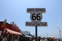 Historic Route 66 Signpost at Santa Monica Pier. California Royalty Free Stock Photo