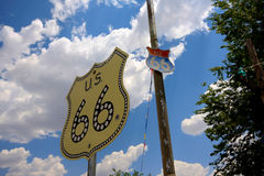 Historic Route 66 Signs. Signs of the historic route 66 in Seligmann near the Grand Canyon Royalty Free Stock Images