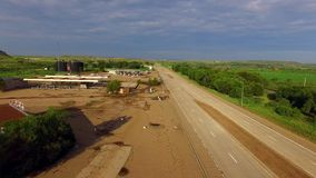 Historic Route 66 aerial video. Aerial video of historic route 66 Texas stock footage