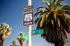 Historic route 66 highway sign Stock Photo