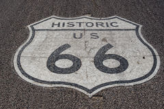 On Historic Route 66 in Kingman, Arizona. Sign of Historic Route 66 on the road in Kingman, AZ Stock Photography