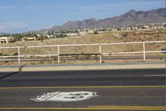Historic Route 66. Landmarks for the Route 66 (USA) , also known as the Will Rogers Highway and colloquially known as the Main Street of America or the Mother Stock Images