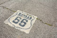 Route 66 sign in Kansas. Stock Photo