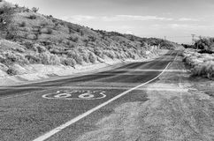 Historic Route 66 with Pavement Sign in California Royalty Free Stock Photos