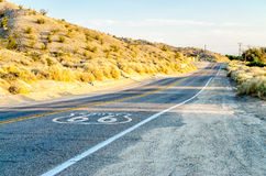 Historic Route 66 with Pavement Sign in California Royalty Free Stock Photography