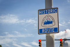 Historic route sign in a blue sky day in Montgomery Alabama, USA Royalty Free Stock Image