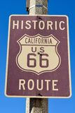 Historic route 66 sign. In California stock photos