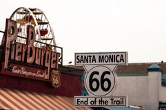 Route 66 highway sign at the end of Route 66 in Santa Monica, California United States. royalty free stock photos
