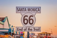 Historic Route 66 sign at Santa Monica California. Historic Route 66 sign on pierce of Santa Monica California royalty free stock image