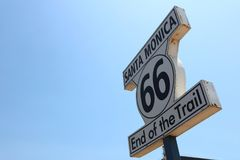 Historic Route 66 Signpost in Santa Monica Royalty Free Stock Images