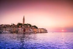 Historic Rovinj during sunset, Croatia Stock Photo
