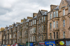 Historic row buildings at the Leith Walk in Edinburgh, Scotland Royalty Free Stock Images