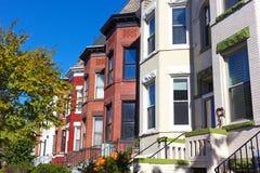 Historic row houses in Washington DC neighborhood around Halloween time. Royalty Free Stock Images