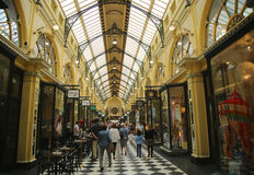 Historic Royal Arcade in Melbourne. MELBOURNE, AUSTRALIA - JANUARY 24, 2016: Historic Royal Arcade in Melbourne. The Royal Arcade is an historic shopping arcade Stock Photography