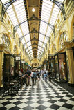 Historic Royal Arcade in Melbourne. MELBOURNE, AUSTRALIA - JANUARY 24, 2016: Historic Royal Arcade in Melbourne. The Royal Arcade is an historic shopping arcade Royalty Free Stock Photography