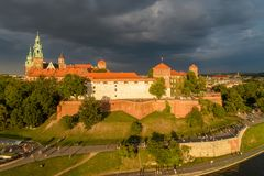 Wawel Castle and Cathedral in Krakow, Poland. Aerial view with d Royalty Free Stock Photography