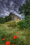 Historic ruin on a dark cloudy day Royalty Free Stock Photo