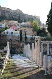 Historic ruins in Ancient Agora of Athens. Historic artefacts in Ancient Agora of Athens, Greece Stock Photo