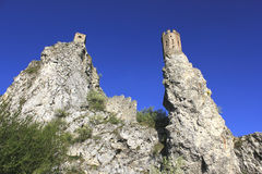 Historic ruins of castle Devin. Historic ruins on peaks, castle Devin Royalty Free Stock Images