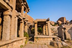Historic ruins of Hampi. Ancient historic architecture at Hampi from 14th century Vijayanagara empire, currently a UNESCO world heritage site royalty free stock images